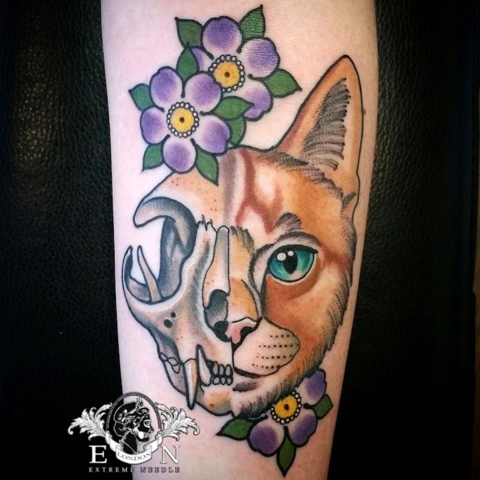 Neo Traditional Cat and Flowers Tattoo