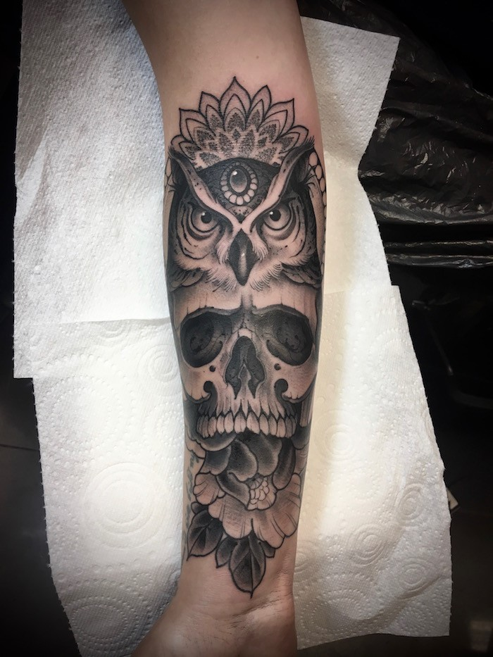 Skull and Owl Neo-Traditional Tattoo