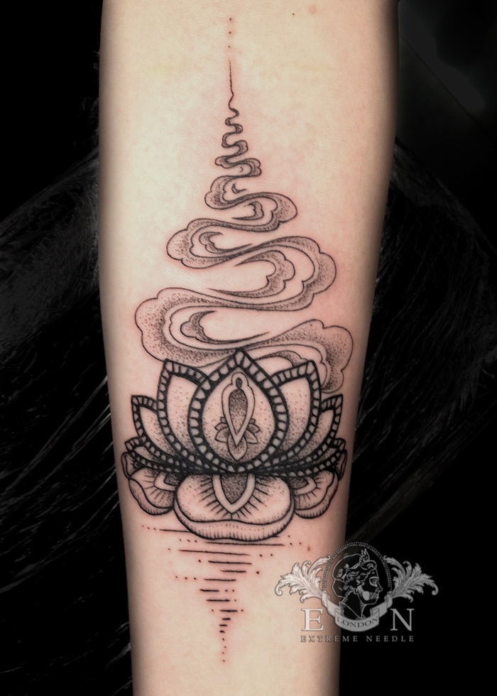 Lotus dotwork tattoo