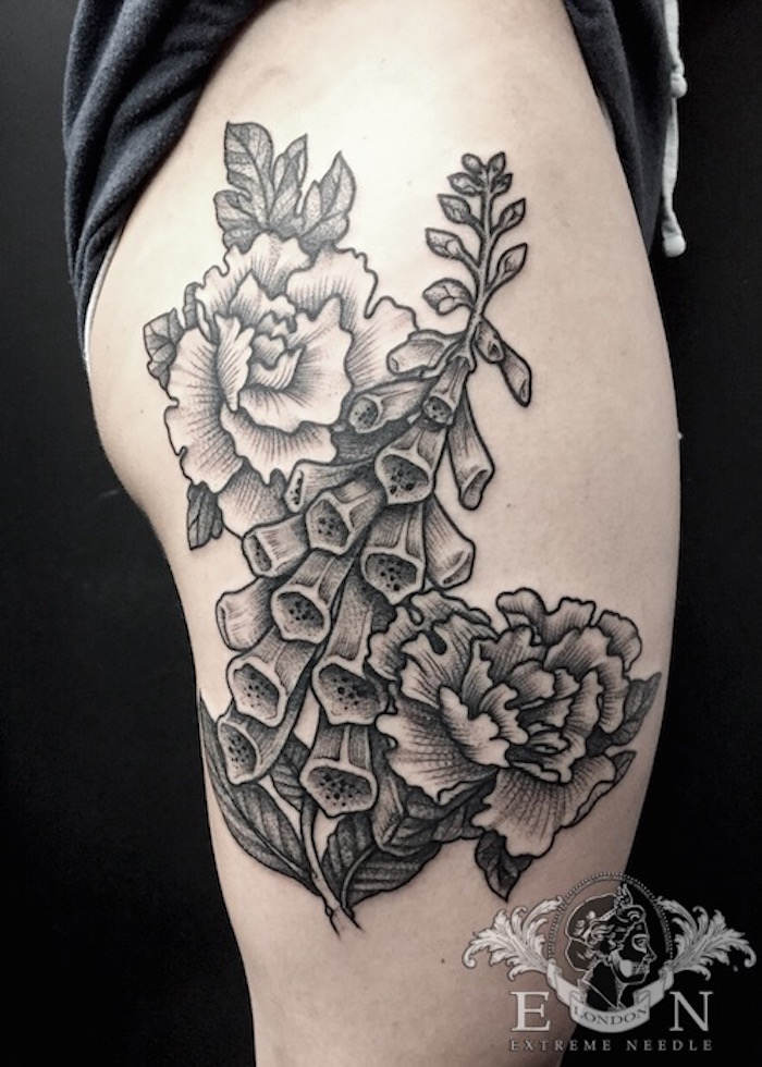 Traditional garden flowers tattoo