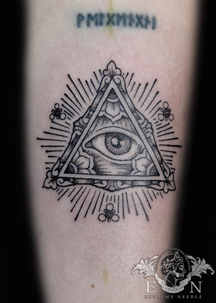 vintage masonic eye tattoo